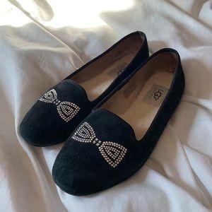 Ugg Swarovski Suede Bow Loafers